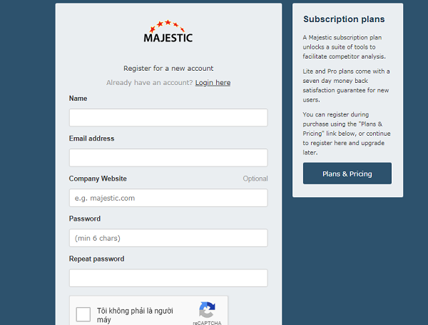 đăng ký majestic